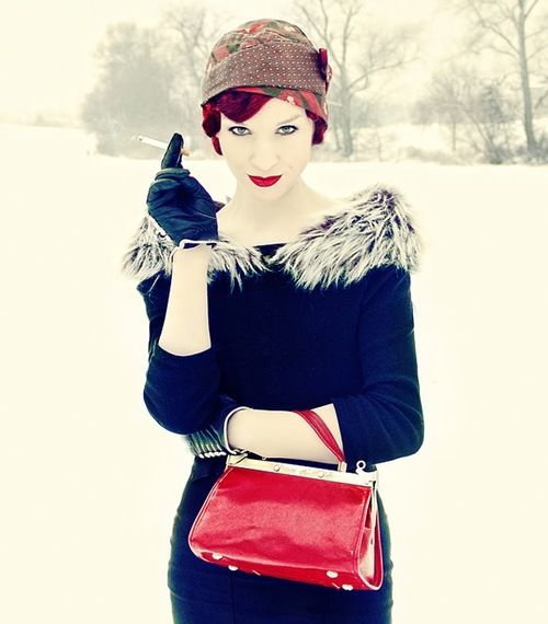 This vintage gal is ready to stay warm this winter with a fur-trimmed boat neckline--- great inspiration for a late '30s and early '40s inspired look:: Winter Fashion:: Vintage Lifestyle:: Pin Up