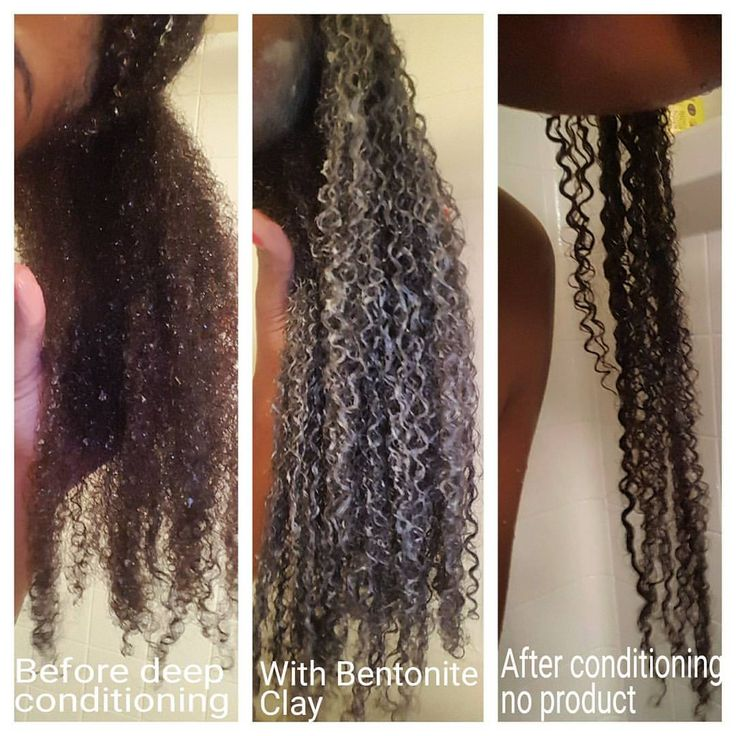 "Liah on Instagram: ""Here's a good texture shot of my hair before during & after the bentonite clay deep conditioning treatment. It's like a relaxer for curly girls  Mixture  I use 1 cup Bentonite Clay mixed with Apple cider vinegar until it looks like a paste not runny. 1 tbs of olive oil & Avocado oil."""