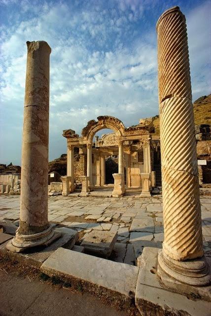 The remains of Hadrian's Gate at Ephesus, Turkey