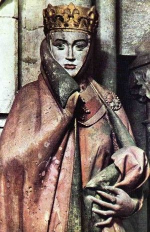 Countess Uta of Naumburg (nee Ballenstedt) 1000 - 1046 (Figure was made 1255 by the Naumburg Masters. Stands in the Cathedral of Naumburg, Saxony-Anhalt, Germany. If you look closely you will realize she was Disney's inspiration for the wicked stepmother in Snowwhite.