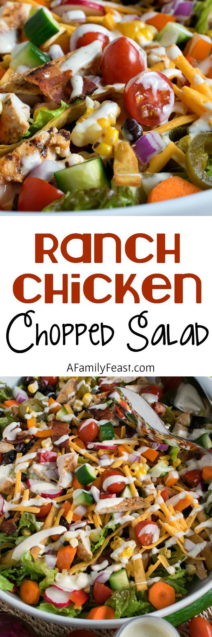 Ranch Chicken Chopped Salad - Grilled chicken, fresh veggies, tortilla strips and cheese - plus a delicious Ranch Dressing! #ForTheLoveOfProduce {sponsored} @marzettikitchen