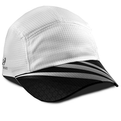 Headsweats Grid Race Performance Running/Outdoor Sports Hat, White Sublimated Black/Grey, One Size