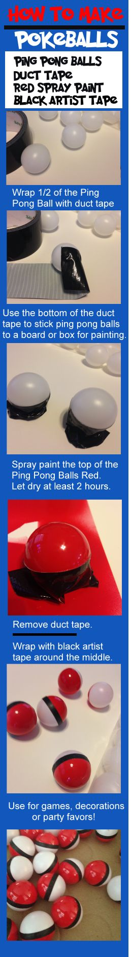 Easy to make Pokeballs for a Pokemon Go party!  DIY pokeballs are great for games, decorations and party favors!   Make these easy and cheap pokeballs with ping pong balls, spray paint and artist tape!  Step by step instructions.   For more fun ideas see http://www.birthdaypartyideas4kids.com #pokeball #poke #ball #diy #easy #pokemon #party #ideas #favors #games #decorations