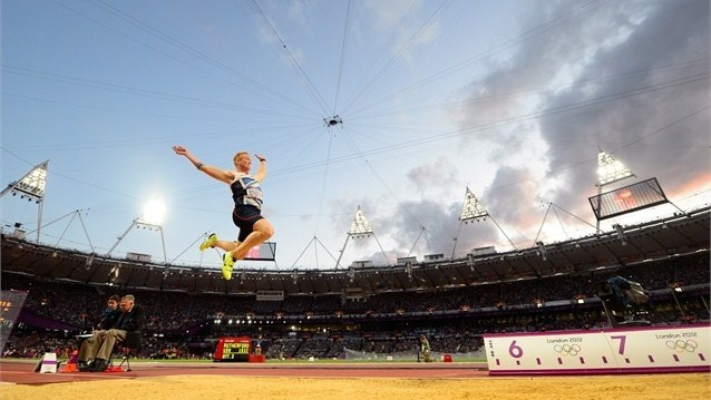 Day 8 - Greg Rutherford of Great Britain flying towards gold. He won with a jump of 8.31m ahead of Australia's Mitchell Watt with 8.16m and USA's Will Claye with 8.12m - Men's Long Jump Photos - Olympic Athletics   London 2012 Olympics