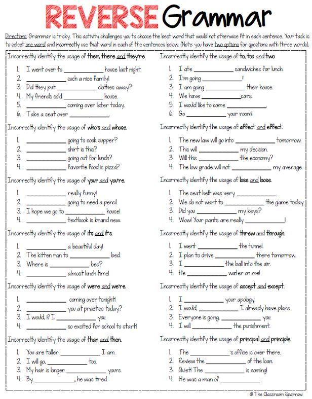 Fun worksheets for middle school english