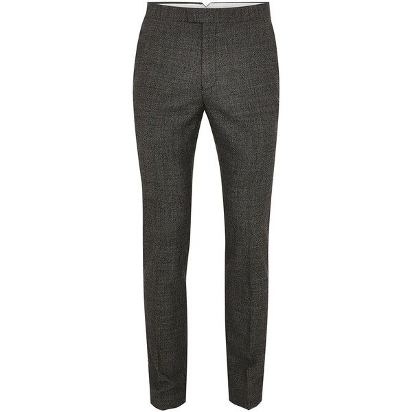TOPMAN Charcoal Birdseye Wool Blend Ultra Skinny Suit Trousers ($69) ❤ liked on Polyvore featuring men's fashion, men's clothing, men's pants, men's dress pants, grey, mens gray pants, mens charcoal dress pants, mens skinny dress pants, mens super skinny dress pants and mens skinny suit pants