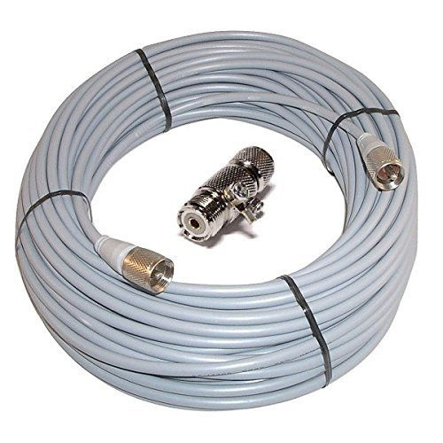 100 ft RG8X COAX CABLE CB / Ham Radio Workman 8X-100-PL-PL /W Lightning Arrestor. For product & price info go to:  https://all4hiking.com/products/100-ft-rg8x-coax-cable-cb-ham-radio-workman-8x-100-pl-pl-w-lightning-arrestor/