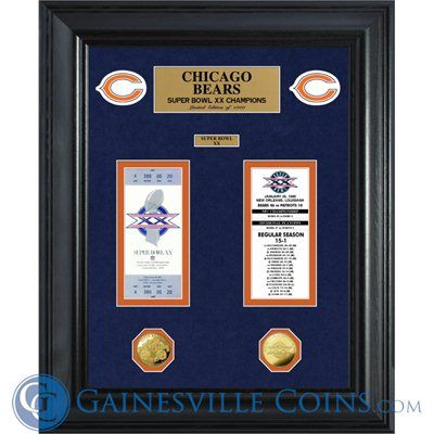 Chicago Bears Super Bowl Ticket and Game Coin Collectible Plaque #Bears  #Chicago  http://www.gainesvillecoins.com/submenu/536/sports-memorabilia.aspx