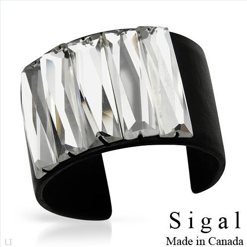 SIGAL Stunning Brand New Bracelet With Genuine Swarovski Crystals Made in Black Leather. Total item weight 65.0g  Length 7.5in - Certificate Available.