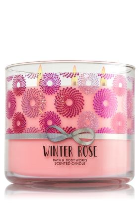 "Winter Rose - 3-Wick Candle - Bath & Body Works - The Perfect 3-Wick Candle! Made using the highest concentration of fragrance oils, an exclusive blend of vegetable wax and wicks that won't burn out, our candles melt consistently & evenly, radiating enough fragrance to fill an entire room. Topped with a flame-extinguishing lid! Burns approximately 25 - 45 hours and measures 4"" wide x 3 1/2"" tall."