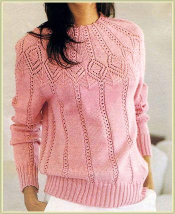 Розовая кофточка вязаная спицами