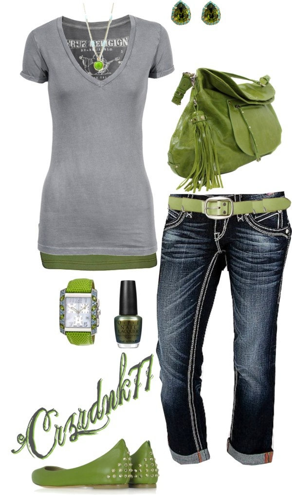 """""""Olive and Grey"""" by crzrdnk77 ❤ liked on Polyvore"""