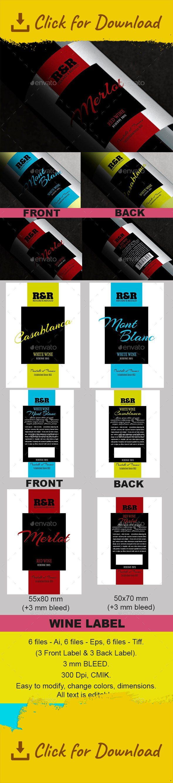 black, blue, bright, design, label, layout, modern, packaging, printing, red, red wine, sticker, template, white, white wine, wine bottle, yellow 6 files – Ai, 6 files – Eps, 6 files – Tiff. (3 Front Label & 3 Back Label).   Dimensions: Front – 55×80 mm (2.4×3.4 inch); Back – 50×70 mm (2.2×3 inch). +3 mm BLEED.   300 Dpi, CMIK.   Easy to modify, change colors, dimensions. All text is editable.   All fonts used are free: Arizonia &#82...