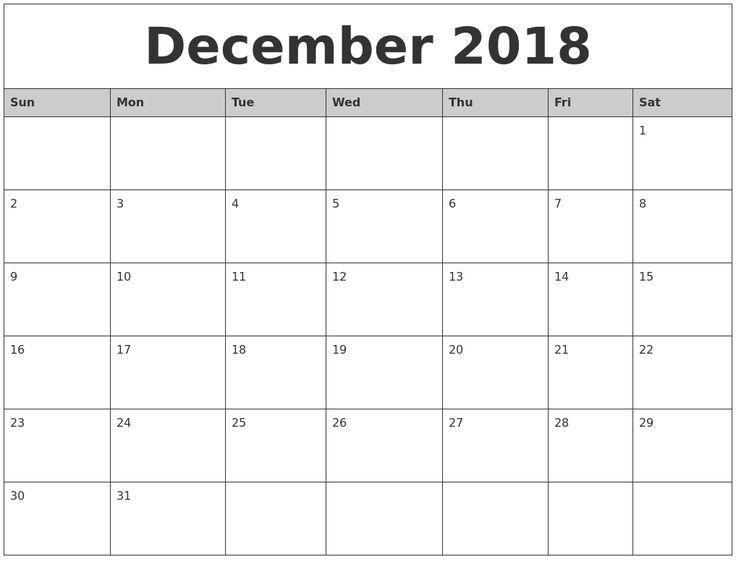 December 2018 Calendar Printable Excel #DecemberCalendar