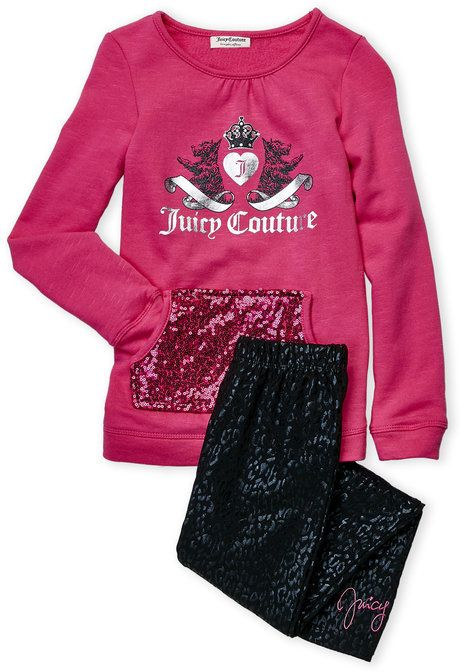 Juicy Couture Girls 4-6x) Two-Piece Sequin Pocket Pullover & Cheetah Leggings Set