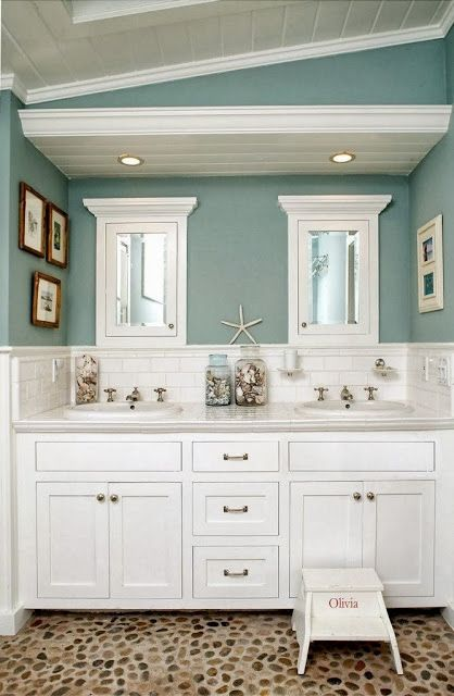 coastal paint colors and painted pine ceiling. Loving the pebble floor too! Bali Ocean pebble tile flooring