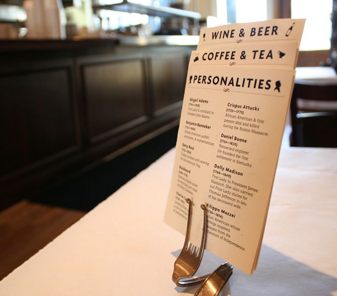 the folded fork as a menu display method is brilliant - Menu Design Ideas