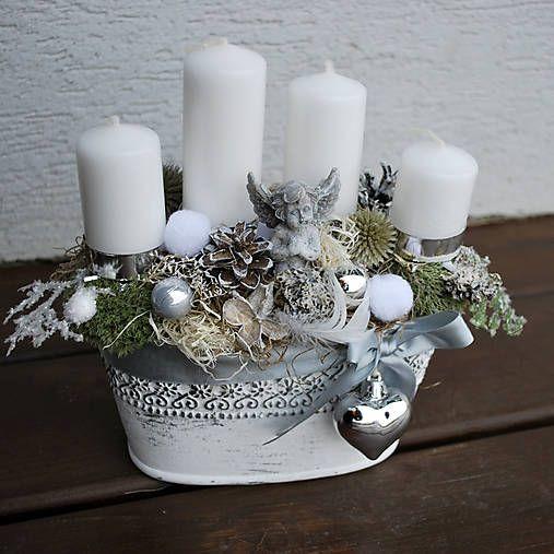 DEKOART / Adventná, vianočná dekorácia s anjelikom a srdiečkom