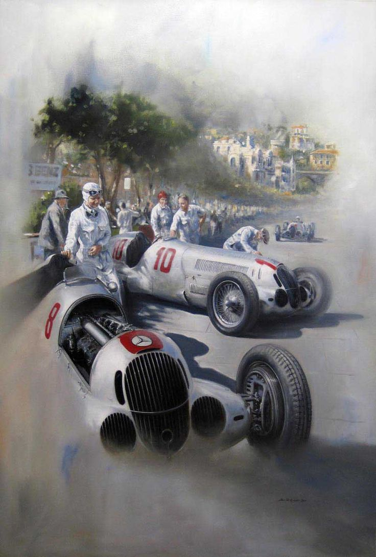 Cars silver racer poster 2 - Mercedes On Race Day
