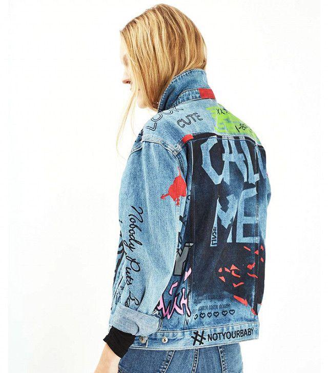Topshop Moto Hand Painted Denim Jacket
