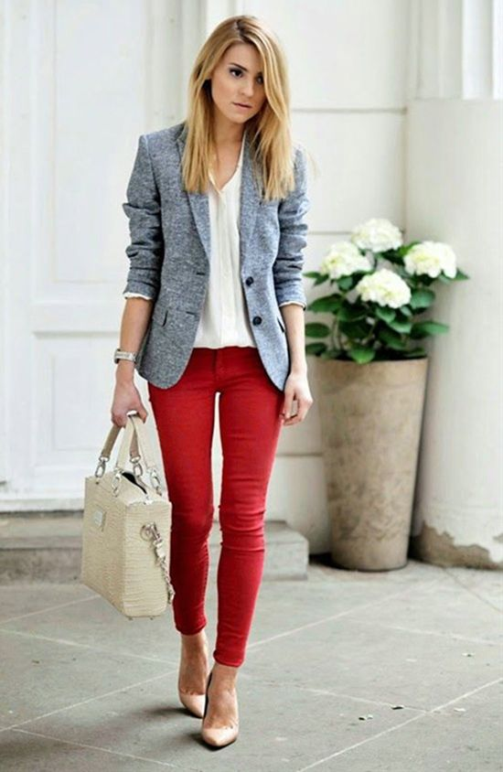 Light blue blazer with bold red skinny pants