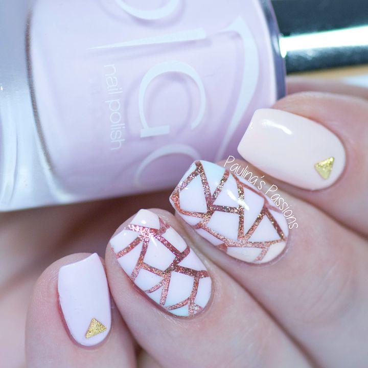 Paulina's PassionsPastel and Rose Gold Nails - Geometric Nail Design