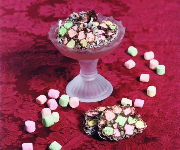 More of a candy than a cookie, slices of colored marshmallows create the