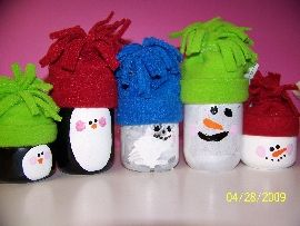 Snowmen And Penguin Idea For Decoratingthinking Of Using Wood Pieces To Make Them With Fabric Hats Find This Pin More On Baby Food Jars