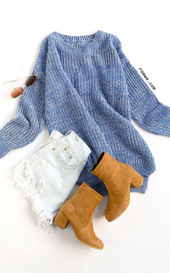 Dipped Hem Loose Knit Blue Sweater with white denim and khaki boots from romwe.com