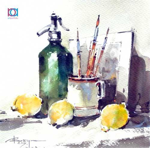 Corneliu Drăgan-Târgoviște - Natură moartă cu lămâi / Still life with lemons, 18 x 18 cm, acuarelă / watercolour