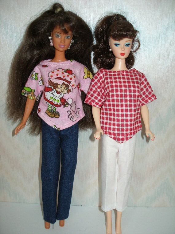 Handgemachte Barbie-Puppe Kleidung - 4 Stück set--Denim Hosen, Caprihosen und 2 tops