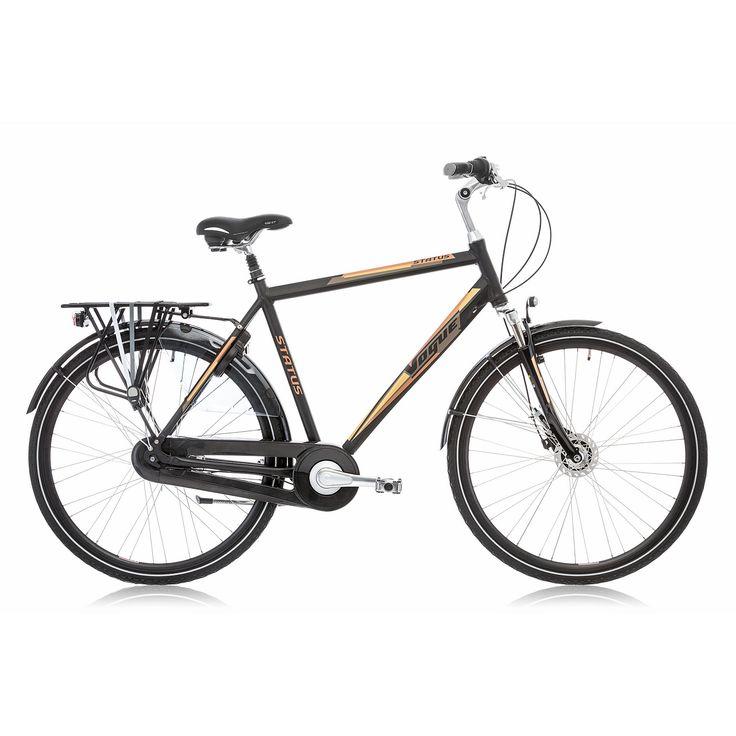 Vogue Stadsfiets Status heren zwart/bruin 57cm Zwart  Description: Met de Vogue Status heb je een topper van een fiets die voorzien is van alle gemakken. De Status is een mooie tijdloze trendy heren stadsfiets met een aluminium oversized frame en een framehoogte van 57cm. Met de Shimano Nexus 7 versnellingen schakel je moeiteloos een versnelling hoger of lager een heuvel op is geen probleem je fiets altijd lekker licht. Remmen doe je eenvoudig met de Shimano Rollerbrake remmen voor en…
