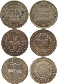 One shilling, silver tokens, 1812 & other Regency Era currency