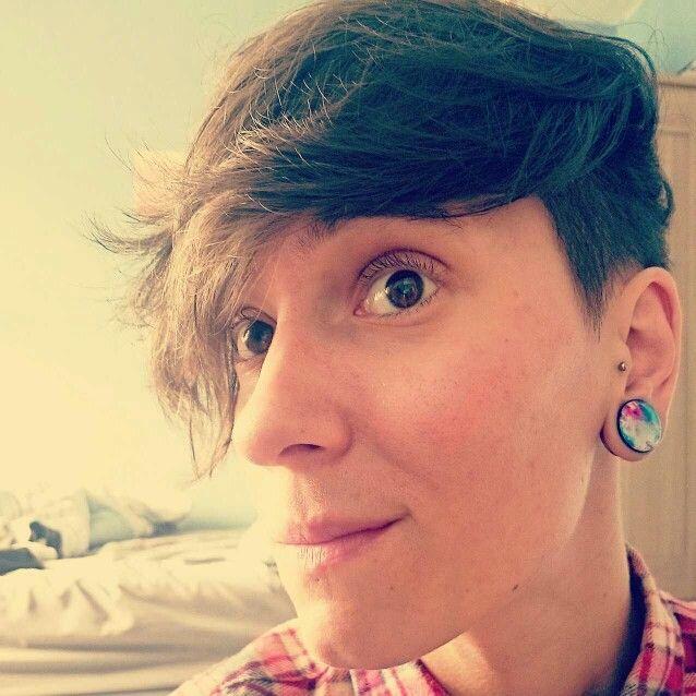 Short hair.  Undercut. Lesbian.  Plugs.  Tunnels.  Gauges.