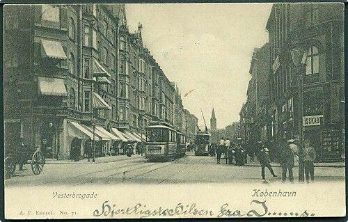 Vesterbrogade med linie 1, 1909