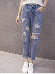 Stylish Broken Hole Pocket Design Jeans For Women (DENIM BLUE,M) | Sammydress.com Mobile