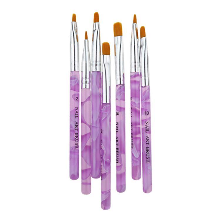 7pcs/set Flat UV Gel Acrylic Nail Brush Set Nail Art Painting Purple Pen Design Builder Salon Tip DIY Nail Tools