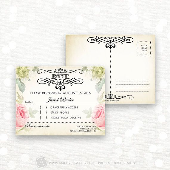Printable RSVP Card EDITABLE Instant Download Digital by AmeliyCom, $10.00 INSTANT DOWNLOAD Printable RSVP Card, EDITABLE Digital DIY Template (Reply Card, Response Card) for all occasions - Wedding, Bridal Shower, Bridesmaid, Bitthday, Baby Shower, Holiday Party or Celebration  #1 Vintage Floral RSVP Card - Printable, Editable PDF Reply Card for home printing Just print, cut and ready to go!
