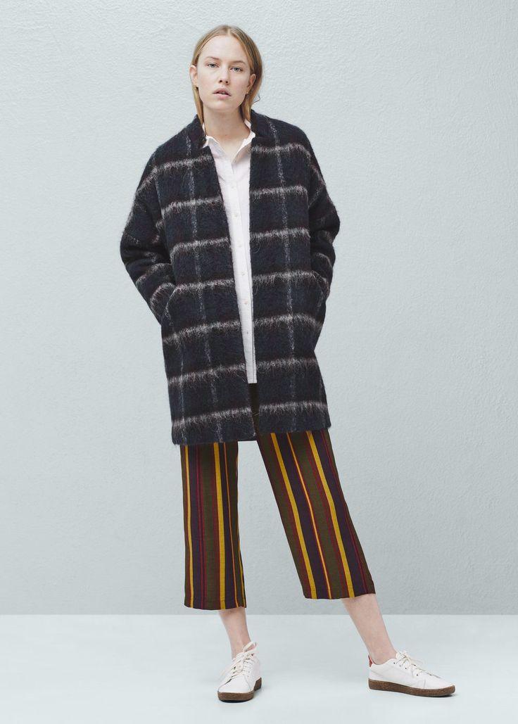 Клетчатое пальто с шерстью   MANGO МАНГО