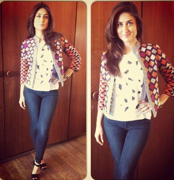 New Pic! Kareena Kapoor in JBrand Jeans, Zara Top, Payal Pratap Jacket & Gucci Shoes for @SinghamReturns Promotions | Veooz 360
