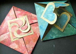 handmade folded heart cards by JoZart ... clever engineering to get the closed design a square ...