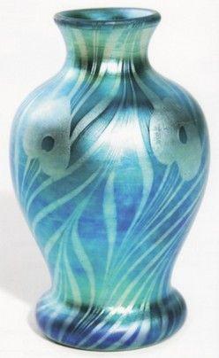 Steuben Glass Values | glass, New York, Rare Steuben blue Aurene glass vase, shape #734 ...