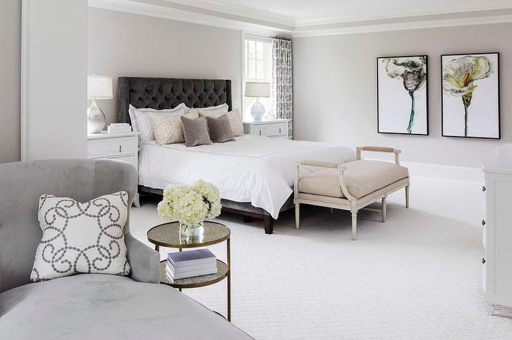 Benjamin Moore Balboa Mist  white and lilac bedding  windows dressed in white and gray