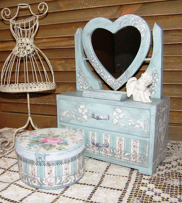 Купить Мини комод для косметики с зеркалом декупаж Дела сердечные. - голубой, комод, комодик, миникомод