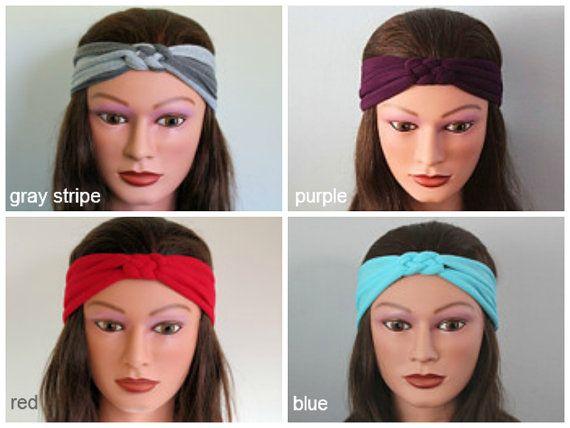 choose 2 Knotted Jersey Headbands, T-Shirt Headband, Sailors Knot Headband, Yoga Headband, gray hairband, workout headband via Etsy