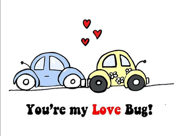 You're My Love Bug Valentines Day Card with two VW Bugs,  by ladybugonaleaf, $3.00