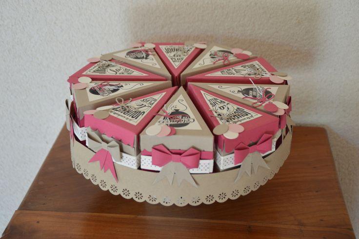"""Voici un cadeau réalisé pour une amie pour son anniversaire, avec le set de tampons """"pile de souhaits"""" et les poinçons thinlits """"Petite part pour toi"""", de chez Stampin'Up!."""