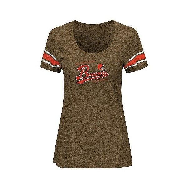 Cleveland Browns Women's Short Sleeve Heather Tri-blend Scoop Neck... ($23) ❤ liked on Polyvore featuring tops, t-shirts, cleveland browns, short-sleeve shirt, colorful t shirts, print t shirts, brown t shirt and sleeve t shirt