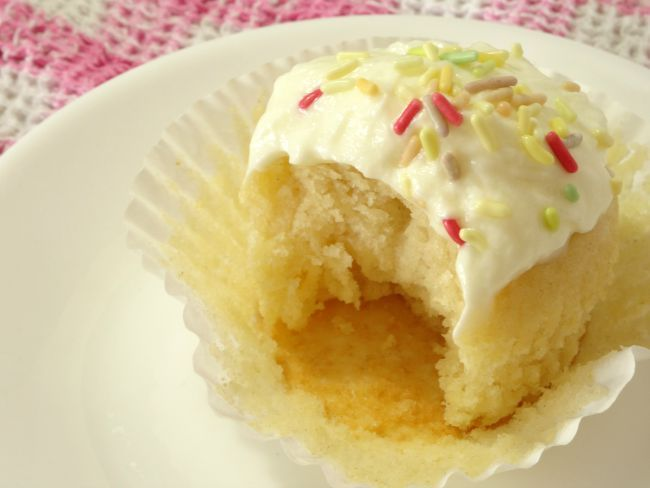 Easy Vanilla #Cupcakes #Recipe - moist vanilla cupcakes made entirely from scratch. They're quick and easy to make and only require basic ingredients. They're so much better than the cupcakes you get from a box mix!   www.pinkrecipebox.com