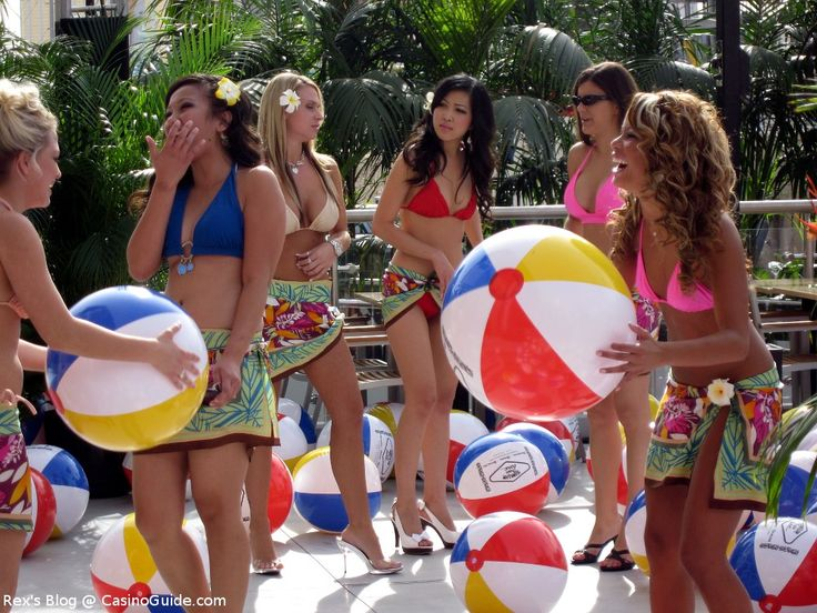 Girl Popping Beach Ball   Hawaiian Tropic Zone Beach Ball ...
